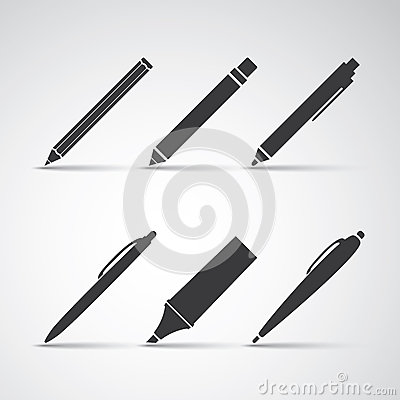 Set of Writing Tool Illustrations