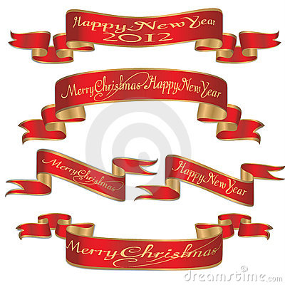 Set of xmas,christmas new year banners ribbons
