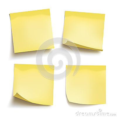 Set of yellow sheets of note papers. Four sticky notes. Vector Vector Illustration