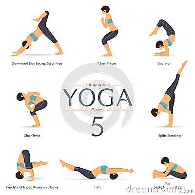 set of yoga poses in flat design  yoga infographics