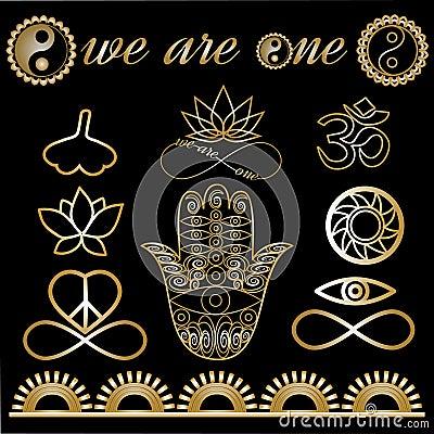 瑜伽商标,瑜伽象,神秘的精神标志,金线被设置的纹身花刺:菩萨手,嬴杨