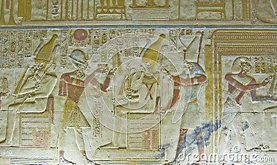 Seti mit Osiris Flachrelief