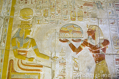 Seti offering food to the goddess Hathor