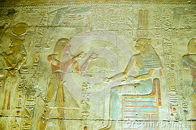 Seti offering Oil to Maat, Abydos Temple
