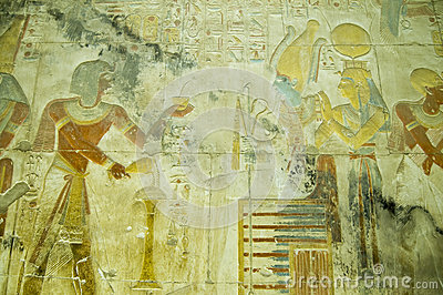 Seti with Osiris and Isis bas relief