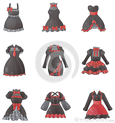 Sets of Gothic dresses in white background