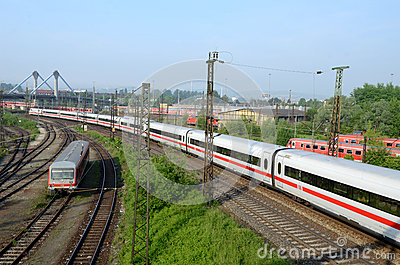 Sets the passenger train in  terminal -  Ulm Editorial Stock Photo