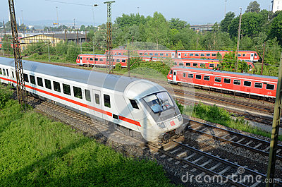 Sets the passenger train in  terminal -  Ulm Editorial Photo