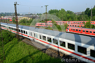 Sets the passenger train in  terminal -  Ulm Editorial Stock Image
