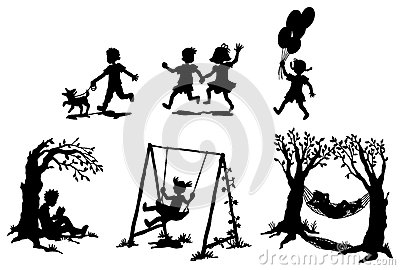 Sets of silhouette children in relaxation (vector)