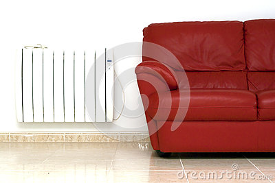 Settee and central heat radiator