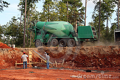 Setting footers Concrete truck