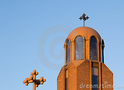 Setting winter sun illuminates Coptic Church