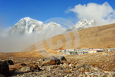 Settlement of Lobuche, east Nepal, Himalayas Stock Photo