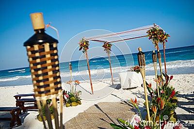 Setup for beach wedding