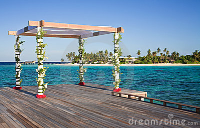 Setup for tropical beach wedding