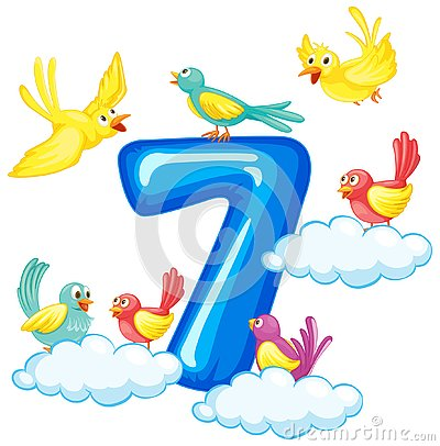 Free Seven Birds On Number Stock Image - 130368311