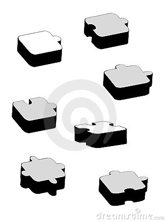 Seven black and white different puzzles