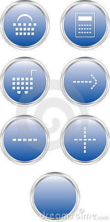 Seven blue web buttons (e-commerce)