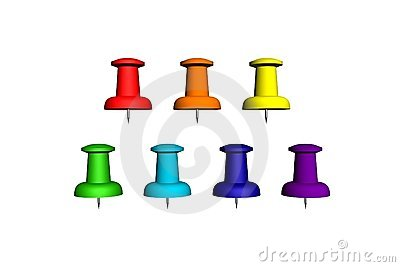 Seven colorfull push-pin