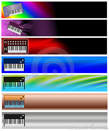 Seven Keyboards Music Banners or Headers