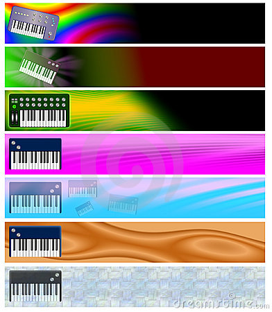 Seven Music Keyboards Retro Headers or Banners