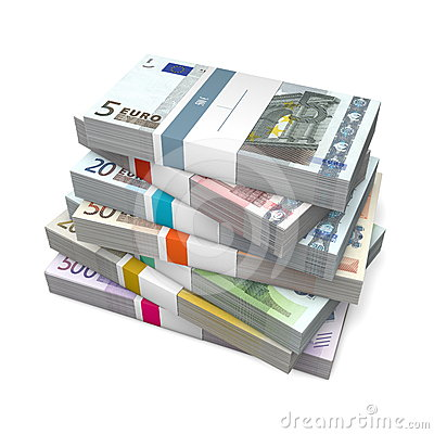 Seven Packets of Euro Notes with Bank Wrapper