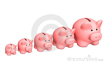 Seven pigs of coin boxes of the different sizes