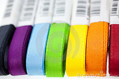 Seven rainbow colored ribbons
