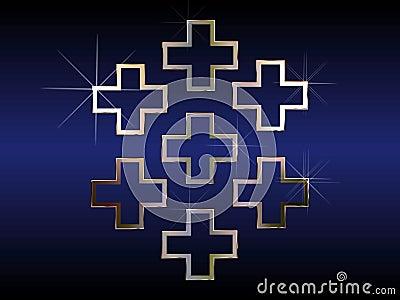 Seven religious crosses