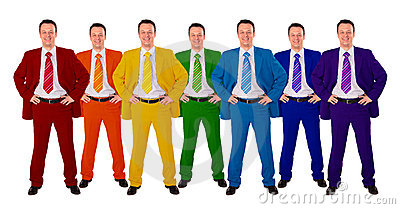 Seven same businessmen in different color suits co
