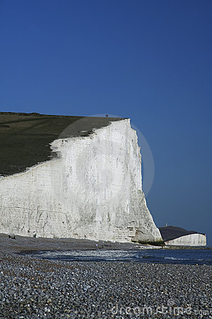 Seven sisters chalk cliffs beach england
