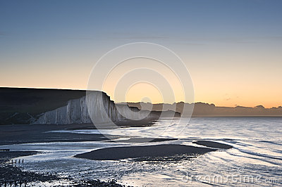 Seven Sisters chalk cliffs Winter sunrise