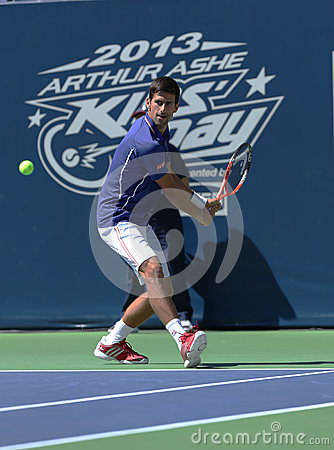 Seven times Grand Slam champion Novak Djokovic  participates at Arthur Ashe Kids day at Billie Jean King National Tennis Center Editorial Photo