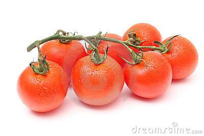 Seven tomatoes with drops