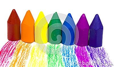 Seven wax crayons