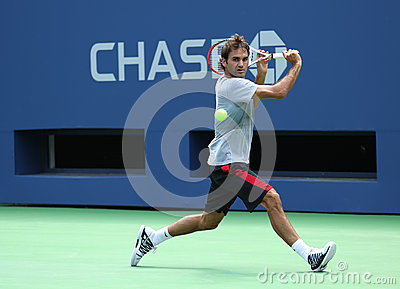 Seventeen times Grand Slam champion Roger Federer practices for US Open 2013 at Arthur  Ashe Stadium Editorial Photography