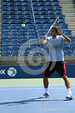 Seventeen times Grand Slam champion Roger Federer practices for US Open 2013 at Arthur  Ashe Stadium Editorial Photo