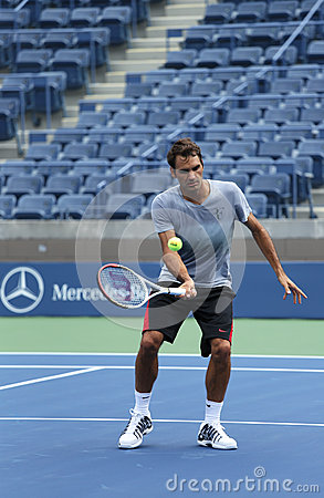 Seventeen times Grand Slam champion Roger Federer practices for US Open 2013 at Arthur  Ashe Stadium Editorial Stock Photo