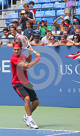 Seventeen times  Grand Slam champion Roger Federer practices for US Open  at Billie Jean King National Tennis Cente Editorial Image