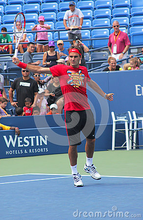 Seventeen times  Grand Slam champion Roger Federer practices for US Open  at Billie Jean King National Tennis Cente Editorial Photo