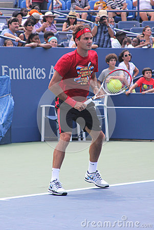 Seventeen times  Grand Slam champion Roger Federer practices for US Open  at Billie Jean King National Tennis Cente Editorial Stock Image