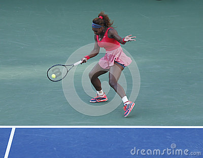 Seventeen times Grand Slam champion Serena Williams during her final match at US Open 2013 against Victoria Azarenka Editorial Photography