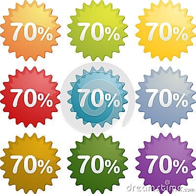 Seventy percent discount symbol