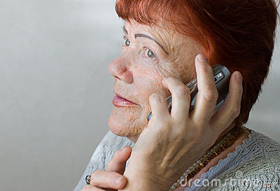 Seventy year old woman with cellphone