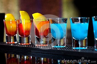 Several Alcoholic Shots Of Diferent Drinks At A Party Stock ...
