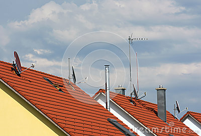 Several antennas on the roofs