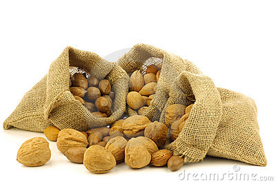 Several burlap bags with mixed nuts