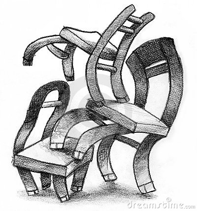 Several chairs in stack symbolism