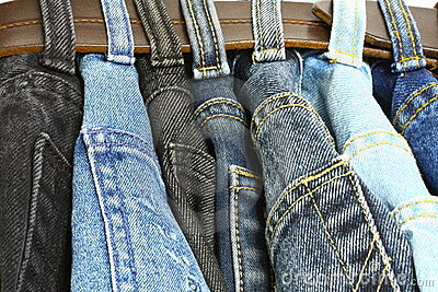 Several denim pants